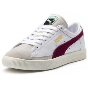 Men-039-s-Puma-Basket-90680-White-Pomegranate-Leather-Retro-Trainers-UK-Size-6-11