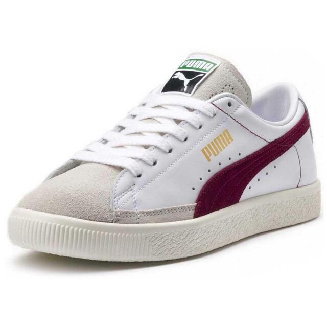 promo code e5630 ed7ef Men's Puma Basket 90680 White Pomegranate Leather Retro Trainers UK Size 6  - 11
