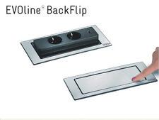 Evoline Backflip - drehbare Steckdose - Edelstahl - 2x Steckdose 1x USB Charger
