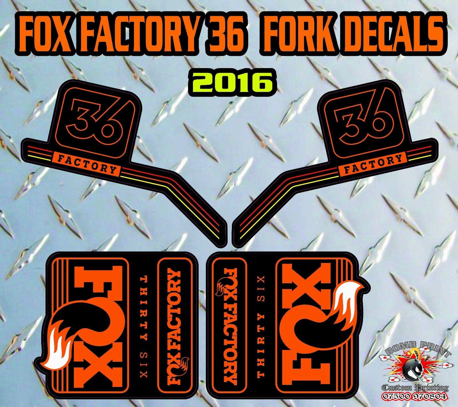 Fox USINE 36 2016 fourche STICKERS AUTOCOLLANTS graphiques Vélo Vélo graphiques VTT en bas Hill 017401