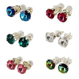 a1c9736f0ea68 Details about 925 Sterling Silver Ear Studs Made From Swarovski Crystal In  various Colours