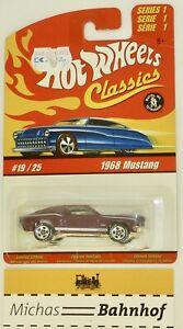 1968-Mustang-hot-wheels-Classics-19-25-Serie-1-Neuf-en-Blister-HB5-A