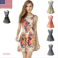 New Women Summer Large size Sleeveless Print short skirt Floral Chiffon Dress