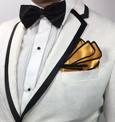 Pocket Square Round Handmade Ivory And Gold Stitched Borders By Squaretrapny.com