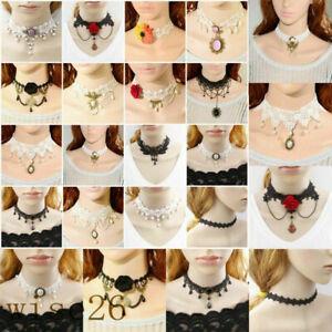 Pendant-Chain-Lace-Necklace-Women-Victorian-Collar-Choker-Black-Gothic-Vintage