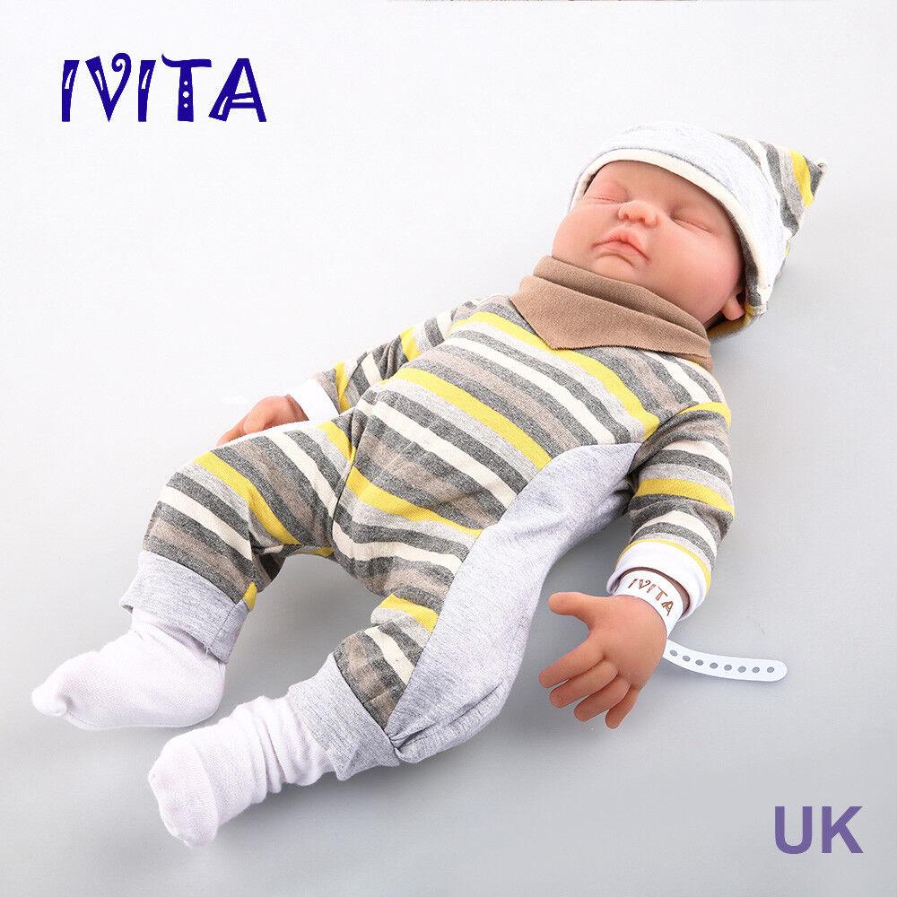 Muñeca Bebé Reborn Realista Ivita 18.5  cuerpo completo suave silicona Niño Regalo para Niños