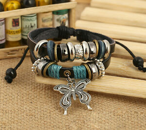 1pcs NEW Jewelry Fashion Infinity Leather Charm Bracelet Silver Lots Beads Style