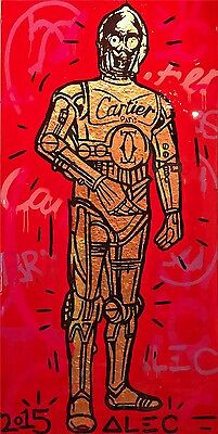 Alec Monopoly Oil Painting on Canvas HUGE Urban art Star Wars C-3PO 24x48/""