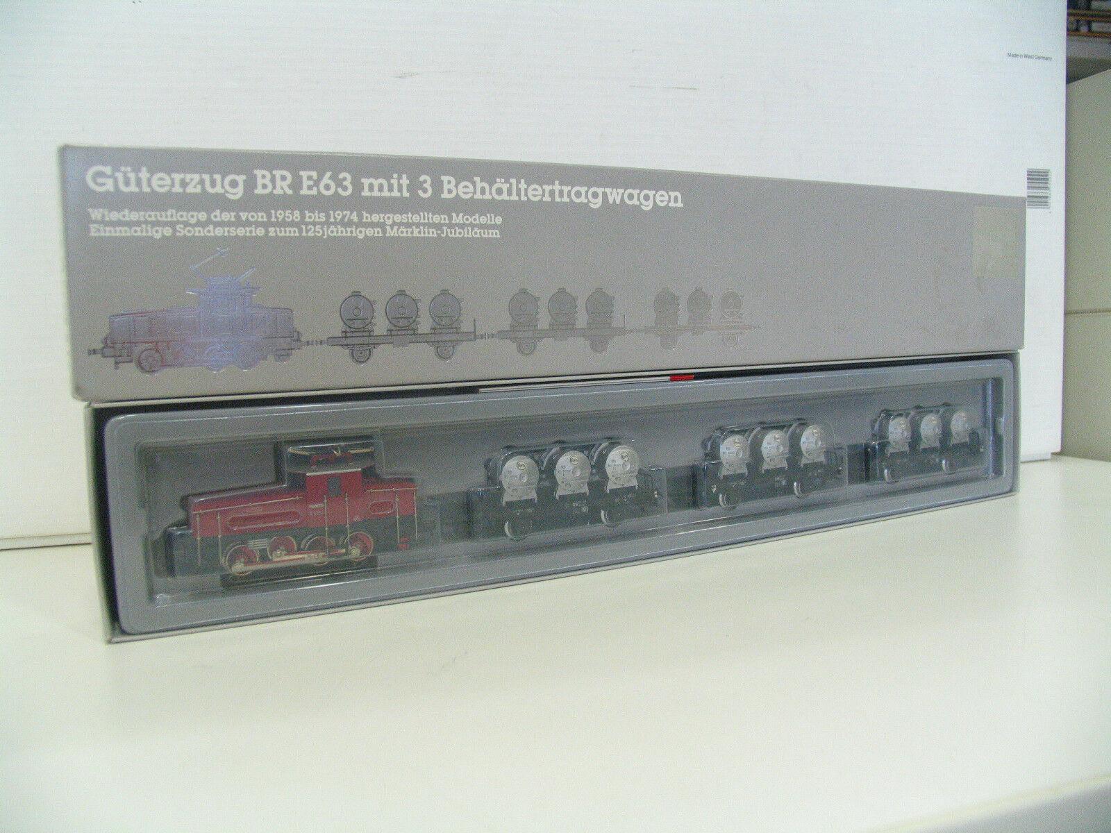 h0 2874 Zugset contenitore portante carrello M. E-Lok DB e63  v2944