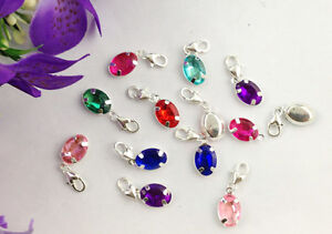 15PCS-Mixed-colours-of-rhinestone-oval-clip-on-charms-22661