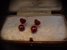 Vintage Jewellery Ruby Red Crystal Heart Red Pearl Pierced Earrings.Gold Plated
