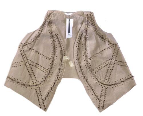 M/&s Kimono RRP £ 35 main ornée Mélange De Lin Shrug sans manches Gilet