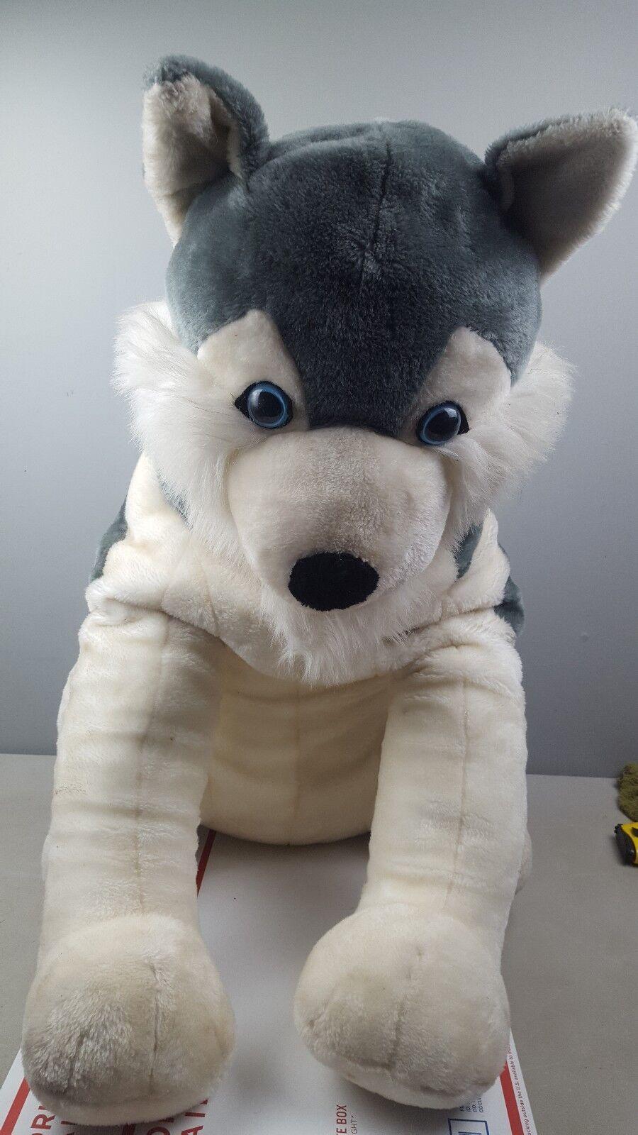 Huge 22  Inch grigio bianca Wolf Pup Stuffed animal Plush toy