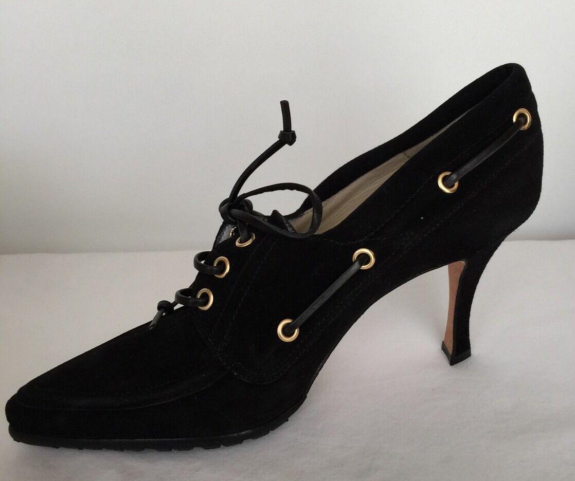 100% Auth MANOLO BLAHNIK  schwarz Suede Pointed Toe 3.5 Heel schuhe 39 NEW  565.00