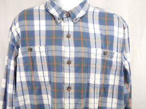 Duluth-Trading-Free-Swingin-039-Flannel-Shirt-Men-039-s-2XL-Blue-Plaid-Armpit-Gusset