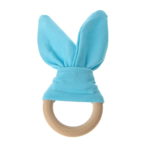Bunny Ear Fabric Teether Wooden Teething Ring With Crinkle Material Shower Gifts
