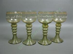 4-Vintage-German-Roemer-Green-Hollow-Stem-Cordial-Wine-Goblets-MCM-Glasses-Set