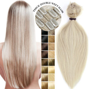 200g-Double-Weft-Clip-In-Thick-Full-Head-Real-Remy-Human-Hair-Extensions-US-F610