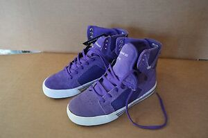 Supra-Skytop-Kids-Purple-Suede-Youth-Hightop-Shoes-Size-2M-New-Defects