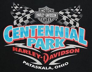 Harley-Davidson-Motorcycles-Centennial-Park-Pataskala-Ohio-T-Shirt-MEDIUM-Black