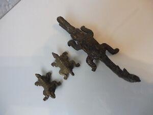 3-schone-alte-Bronzen-Bronzefiguren-Afrika-Krokodil-und-Echsen