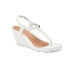 e4d529c4f0b Details about New Chaps Women Raevyn Thong Wedge Sandal White Variety Sizes