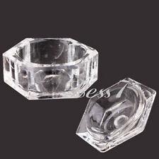 Durable Nail Art Acrylic Crystal Glass Lid Bowl Cup Liquid Powder Container KZ U