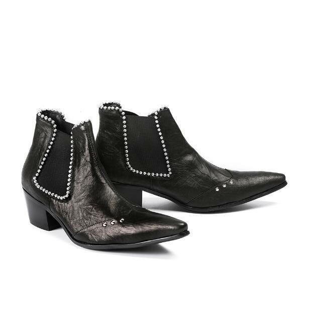 Fashion Men Pointy Toe Ankle Boots Punk Beads Low Block Heels Nightclub Shoes