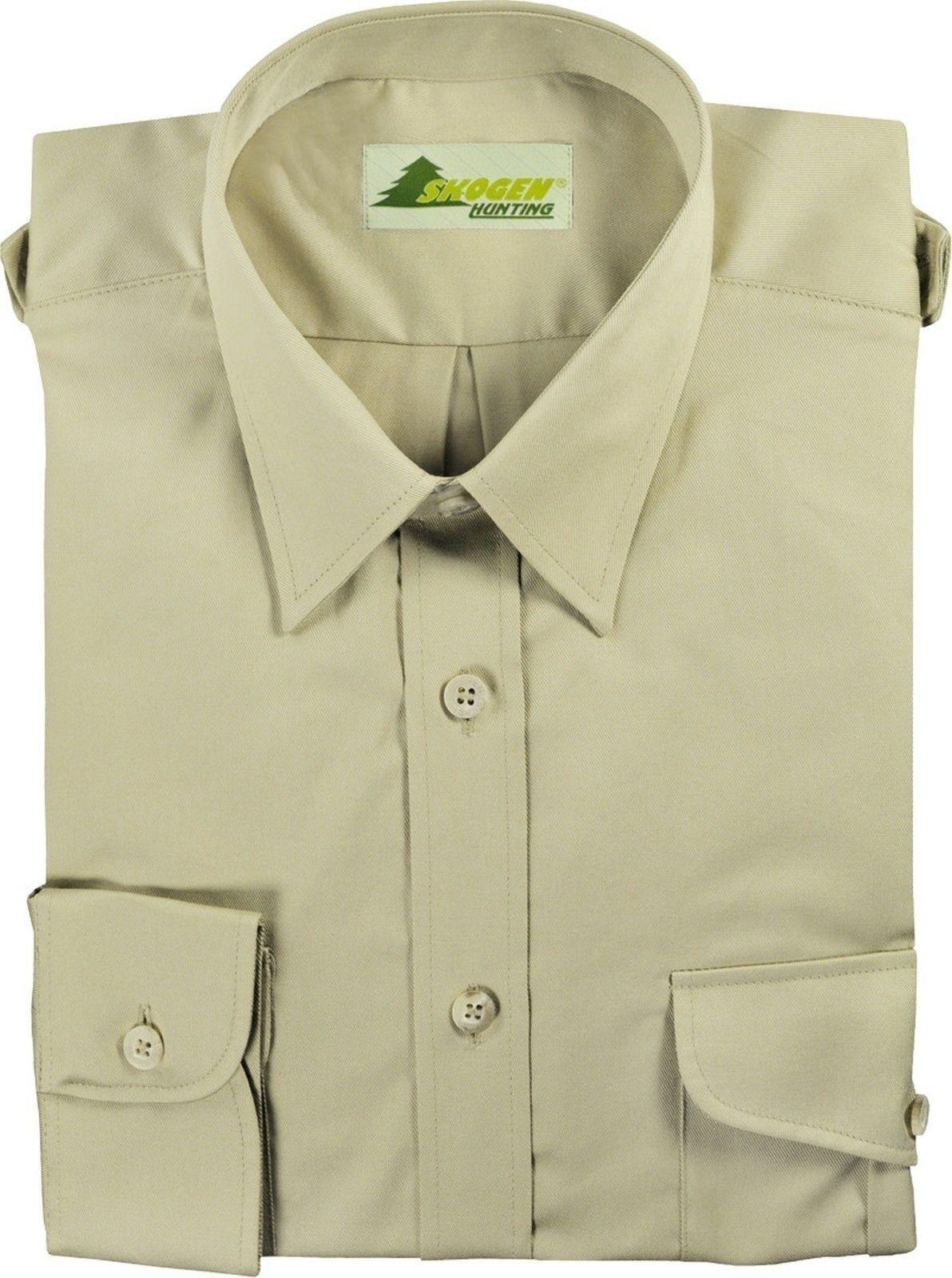 Jagdhemd Freizeithemd Hemd Hemd Hemd + Schulterklappen Garbardin100% Baumwoll natur SKOGEN | Modern  b95eef