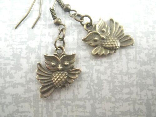 kleine Ohrringe Eulen Uhu bronzefarben Rockabella Ohrringe Eule kleiner Kauz