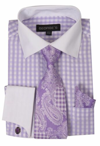 Men/'s Fashion dress shirt  Matching Color cat eyes Cuffing Plaids /& Check AH 615