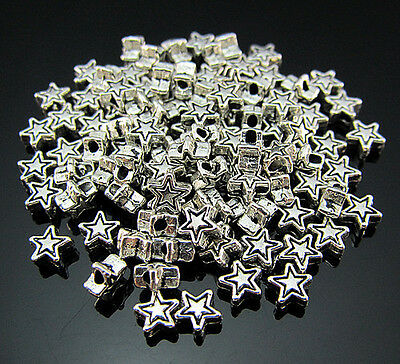 FREE Wholesale Lots Tibetan silver Star Jewelry Findings spacer Loose beads 4MM