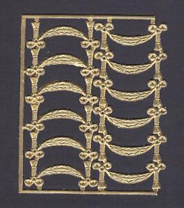ANT GOLD BOW TASSEL BANNER DRAPE PAPER  DRESDEN GERMANY ORNAMENT PHOTO SCRAP