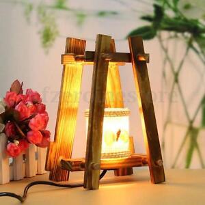 Wundervoll Das Bild Wird Geladen Retro Holz LED Lampe  Tischlampe Tischleuchte Nachtlicht Schlafzimmer