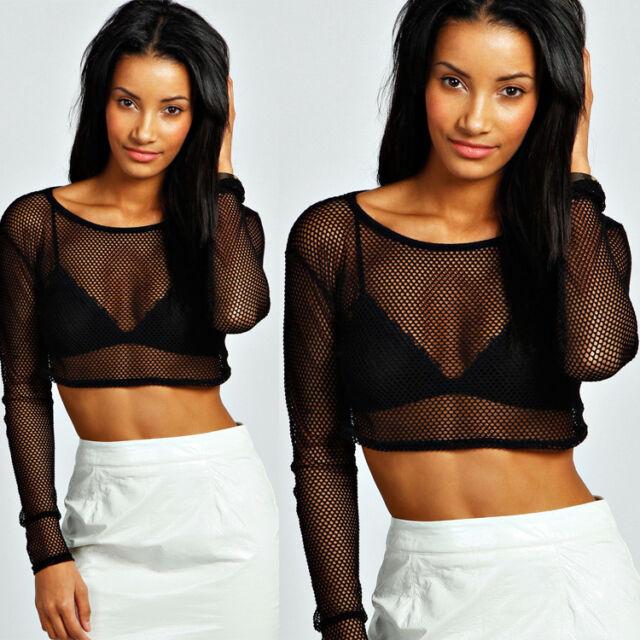 NEW Women Sexy Black Mesh Pierced Long Sleeve Crop Top T Shirt Blouse Tee mday
