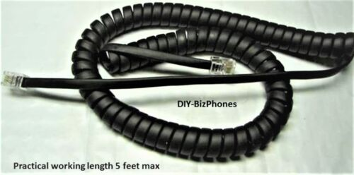 Pack/Lot of 10 Charcoal Black 9 Ft Handset Cord Polycom VVX Series IP Phone Coil
