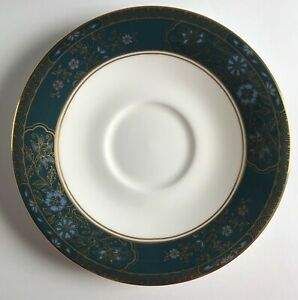 Royal-Doulton-CARLYLE-English-Fine-Bone-China-SAUCER-6-inch-Teal-Band-H-5018