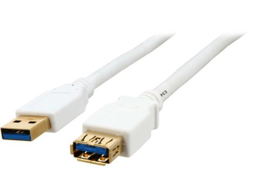 White SuperSpeed 5Gbps USB 3.0  A Male to A Female Coboc CY-U3-AAMF-15-WH 15 ft