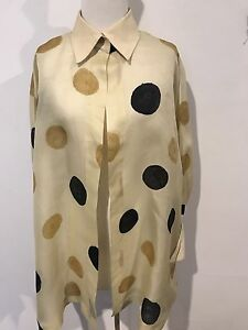 Max-Mara-Yellow-Black-Brown-Large-Spot-Silk-Made-In-Italy-Blouse-Jacket-XL