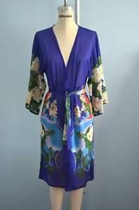 Swimwear Gottex Sheer Robe Purple Wild Garden W Bird Cover