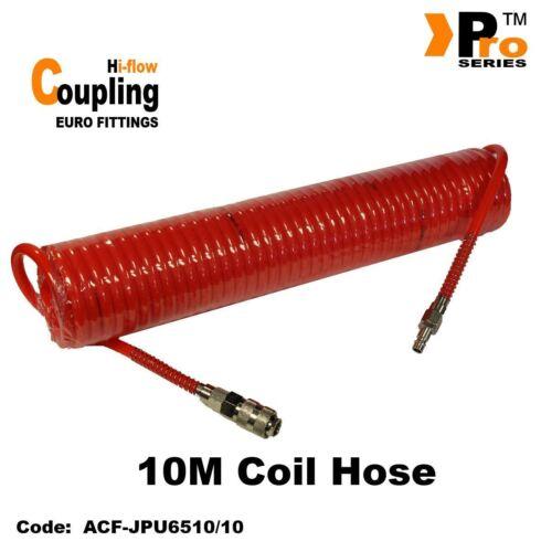 10m Orange Coil Hose with Euro Coupling ( Hi-Flow) & Euro Tail (Hi Flow)   012