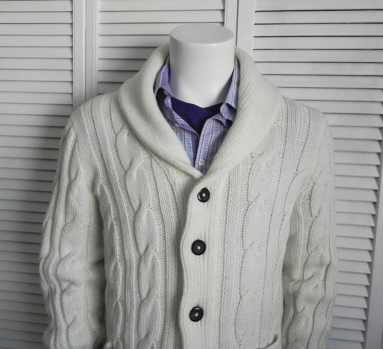 NEW  Herren SZ 2XL ALPACA Ivory Weiß Shawl Collar Knit Cable Cardigan Sweater PERU