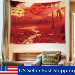 Red-Forest-Sunset-Tapestry-Wall-Hanging-Room-Bedspread-Tapestry-Home-US