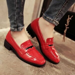 Womens-Patent-Leather-Slip-On-Loafers-Casual-Shoes-Block-Chunky-Heels-Plus-Size