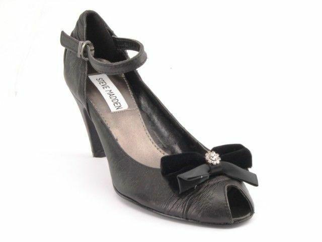 New STEVE MADDEN Women Leather Evening Pump High Heel Peep Toe Dress shoes Sz 6