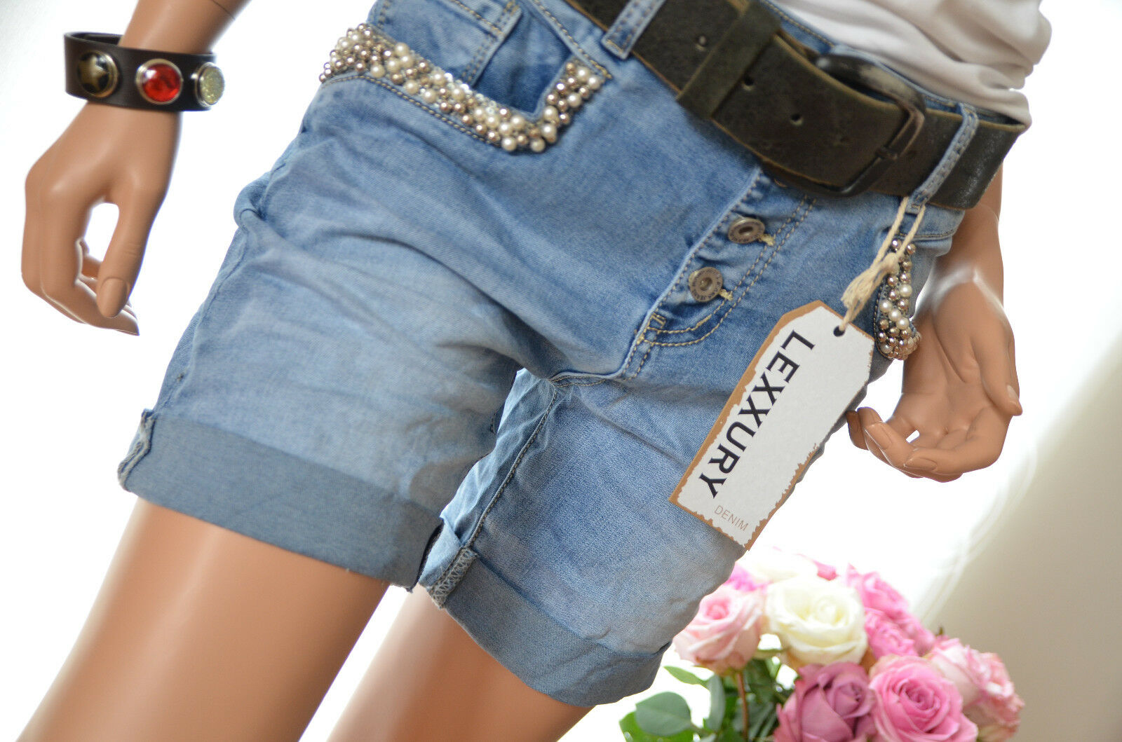 Lexxury Jeans kurze kurze kurze Hose Short Hotpants Perlen Pailletten blau XS 34 Neu  | Niedrige Kosten  1b93fb