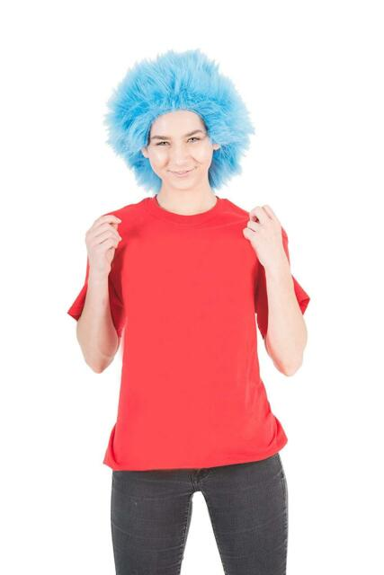 Dr. Seuss Thing 1 or 2 Deluxe Fur Blue Wig Costume Cat in The Hat ... 44cc59514e