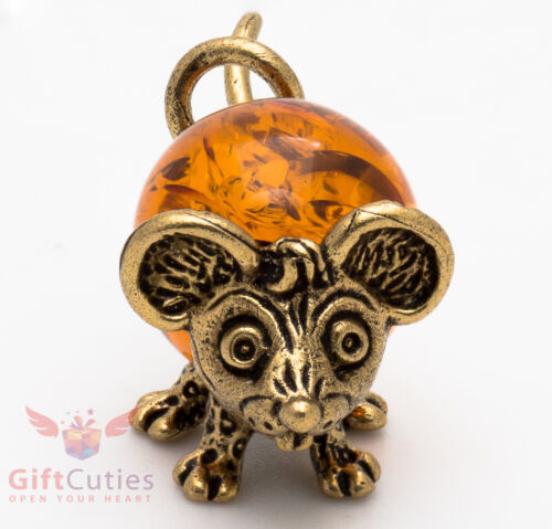 Solid Brass Amber Figurine of Mouse Mice with long tail IronWork