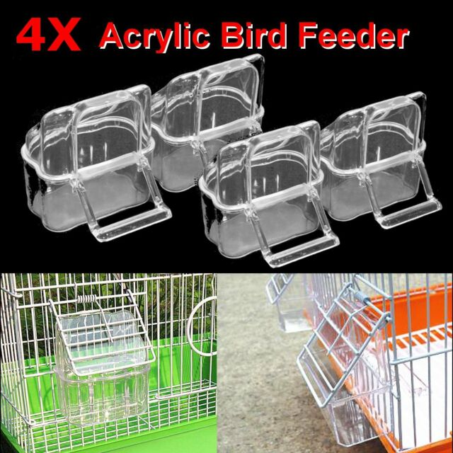4X Acrylic Budgie Canary Bird Seed Food Feeder Clear Bowl with Perch Cage !