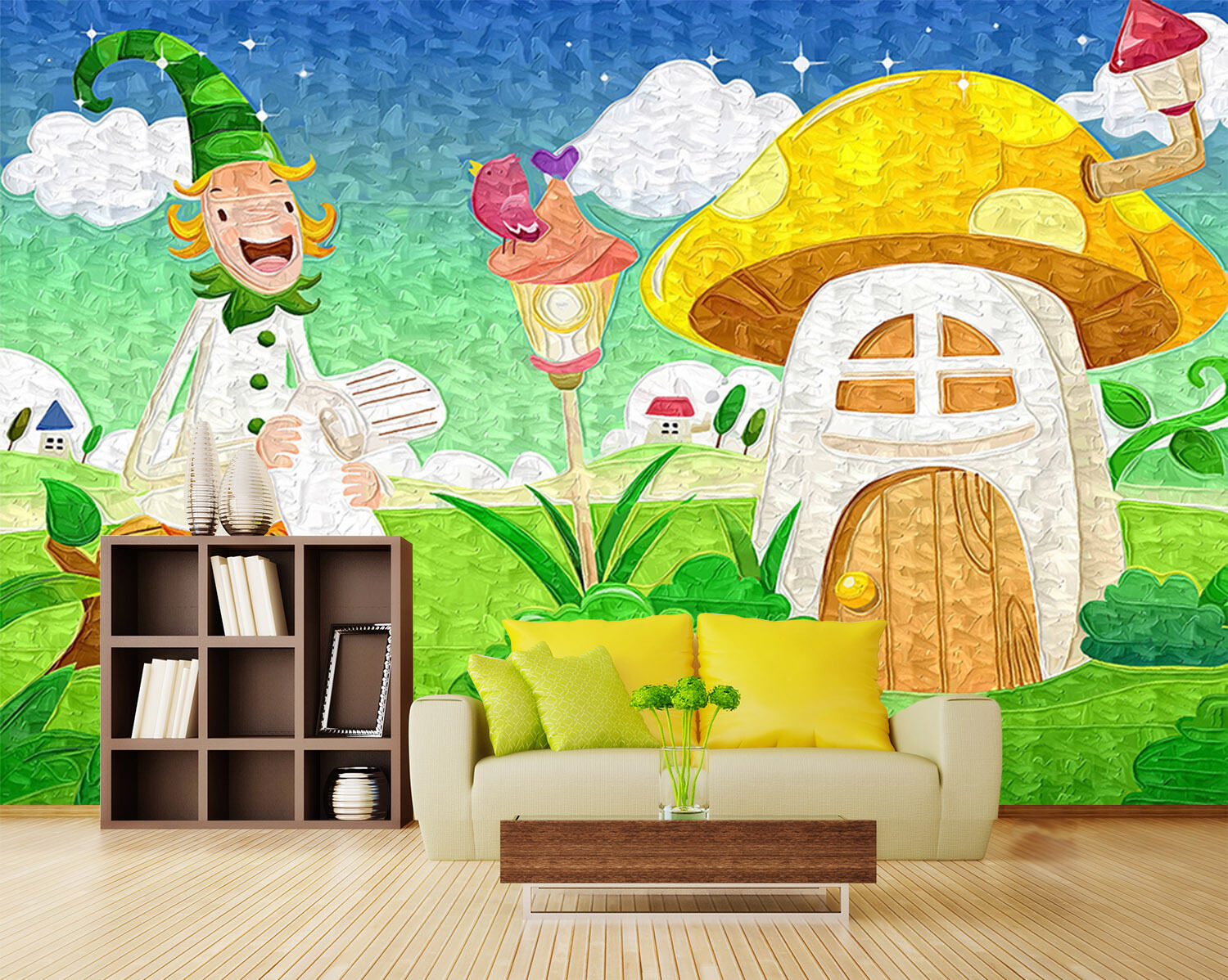 3D Pretty House And Man 713 Wallpaper Decal Dercor Home Kids Nursery Mural  Home